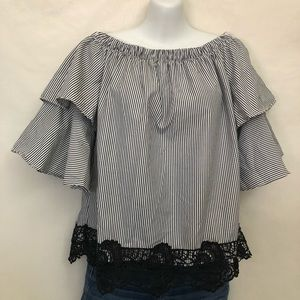 Roommates Off The Shoulder Tiered Bell Sleeve Top